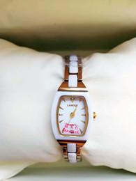 Dress Folding Australia - women Ceramic And steel Bracelet Wristwatch Dress Watch tunqsten steel chain rose gold 18mm watches tonneau Lady Bracelet Gift for girl