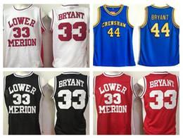 20e895d1218 Lower Merion College Kobe Bryant Jerseys Men Red Black White Blue 44  Hightower Crenshaw High School Bryant Basketball Jerseys