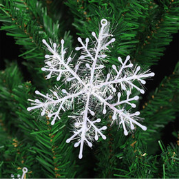 plastic snowflakes decorations Canada - 3pcs lot Christmas Decoration Snowflake Christmas Tree Ornament Plastic Snow Flake Artificial Snowflake Decoration Party Supplies DBC VT0538