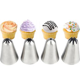 $enCountryForm.capitalKeyWord Australia - 4pcs Large Piping Icing Nozzle Set Cream Cupcake Stainless Steel Pastry Tips Cake Decoration Bakeware