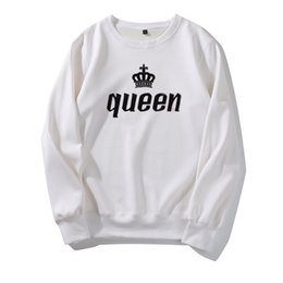 kings sweatshirts UK - Designer Hoodies King Queen Letter Men Womens Hoodies Design for Couple Tops Fashion Spring Autumn Winter Casual Sweatshirt High Quality