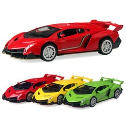 Car Lights Australia - 3 Color 16cm Alloy Cars Sport car Pull Back Veneno Diecast Model Toy with light flashing simulation sound Gift toy For Kids