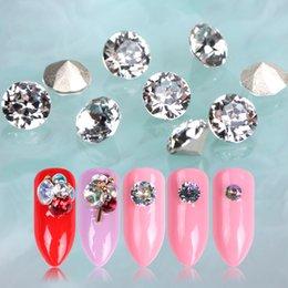 Diamond Base Australia - 10pcs Rhinestones for Nail 3D Charms Crystal Round Diamond Nail Art Decorations Gold Sharp Base Gems Nails Accessories BE990