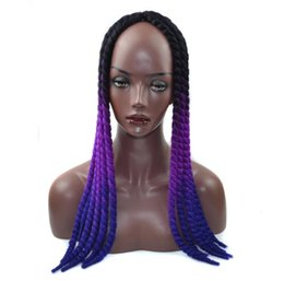 synthetic hair wholesalers NZ - Black women wig Kanekalon Synthetic braiding hair Havana Mambo Twist 22inch 120g Ombre two tone braids hair FZP172