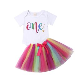 $enCountryForm.capitalKeyWord Australia - 2Pcs Newborn Baby Girl Birthday Party Costume Set Toddler Kids Girls Lace Romper Bodysuit Rainbow Skirts Tutu Dress Clothes Sets