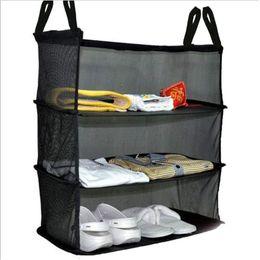 Toy Organizers Australia - Amazon Hot Hanging Laundry bag 3 Laryer Black Polyster toy organizer door hangging bags Foldable shoe racks