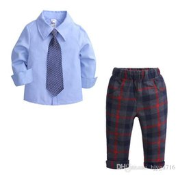 $enCountryForm.capitalKeyWord Australia - 2019 Spring Boys Woven Cotton Long Sleeve Shirt Chequered Trousers and Tie Suit for Children and Gentlemen SIZE 80T-130T