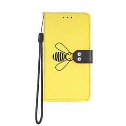 Iphone vertIcal pouch online shopping - Bee Leather Wallet Case For Samsung S10 S10E Plus A70 A50 A40 A30 A20 A10 Vertical Silk Grain Luxury Flip Cover Frame Card Slot Holder Strap