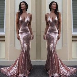 $enCountryForm.capitalKeyWord Australia - Sparkling Sequined Deep V Neck Prom Dresses Long Rose Gold Mermaid Evening Dress Plain Sexy Low Backless Bridesmaid Dress Long Cheap