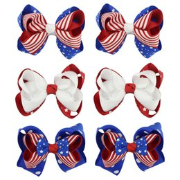 Wholesale Duckbill Hair Clips Australia - Children's Bow Hairpin Duckbill Clip American Independence Day Flag Little National Day Holiday Hair Accessories Head Clip