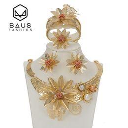 Baus Dubai Terno Tipo de Flor de Jóias de Ouro da Cor do Conjunto de Jóias de Casamento Nigeriano Africano Beads Etíope Ouro Acessórios De Noiva C19021601 venda por atacado