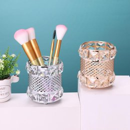 gold cosmetic tubes NZ - European Elegant Metal Crystal Makeup Brushes Storage Tube Eyebrow Pencil Cosmetic Pens Holder Desktop Jewelry Box Organizer