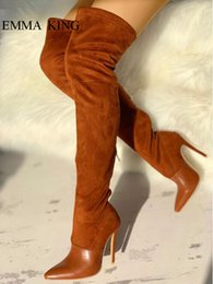 Brown Stretch Knee High Boots Australia - Women Brown Stretch Over the Knee Boots Patchwork Design Long Riding Boots Pointed Toe Stiletto High Heels Zipper Ladies Shoes