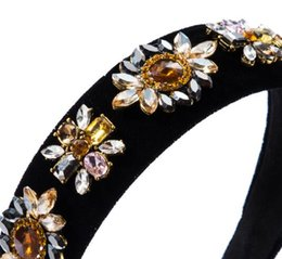 Wholesale Fashion Multilayer Temperament Glass Diamond Drill Floral Velvet Hair Bands Female High-end Wide-brimmed