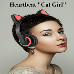 Cell Phones Dhl Shipping Australia - Cat Ear Cartoon Colorful LED Lighting Bluetooth Headphone Luminous Earphone Wireless+Wired Stereo Headset for Phone PC headband DHL Shipping