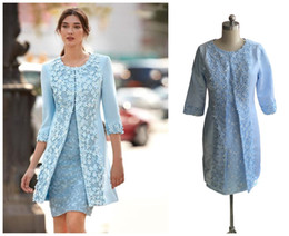 mother bride dress two piece short UK - Setwell Real Pic Two Pieces Light Blue Mother Of Bride Dresses 3D Applique Lace 3 4 Long Sleeves Knee Length Sheath Short Wedding Guest Gown