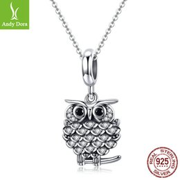 owl pendant necklace men UK - 2018 Wisdom Owl Necklace Pendant Charms Bracelets for Woman Man Party Original S925 Sterling Silver Beads for Diy Jewelry Making