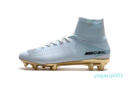 ronaldo shoes canvas NZ - 2019 New White Gold CR7 Soccer Cleats Mercurial Superfly FG V Kids Soccer Shoes Cristiano Ronaldo 36-45 A