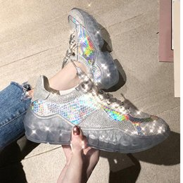 Wholesale 2019 spring new Crystal casual women s shoes transparent thick bottomed rhinestone net red sports shoes platform sneakers p17