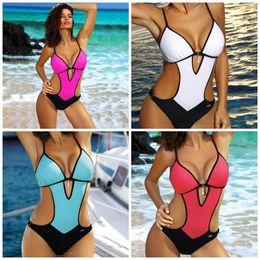Female swimsuit back online shopping - Female Swimsuit Pendant Decorate Summer Beach Swim Wear Open Back Slim Bikini Solid Color Blue White Comfort jha C1