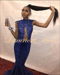 Beaded Mermaid Prom Pageant Dress Australia - Exquisite Royal Blue Mermaid Prom Dresses Long 2019 Sexy See Through Top Heavy Beaded Handwork Satin African Girl pageant Prom Gowns