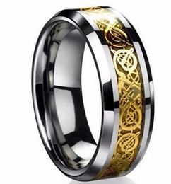 Platinum mens gifts online shopping - 6 Fine jewelry stainless steel Dragon Ring Mens Jewelry Wedding Band male ring for lovers Valentine present gift