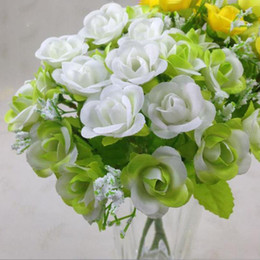 white rose stores Australia - Cafe store Artificial Flowers 3PCS 21Heads Silk Rose Bouquet Buch Wedding