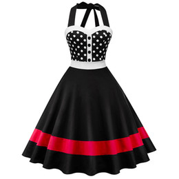 b2d8241fe82 Wipalo Polka Dot Print Halter Vintage Women Sleeveless Summer Pin Up Dress  Swing Rockabilly Party Dresses Tunic Vestidos Q190429