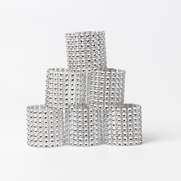 Table Charm Wholesale Australia - 8 rows Rhineston napkin rings plastic napkin buckle charm Mesh Wrap Napkin Ring Serviette Holder hotel wedding table decor 50lots AAA1845