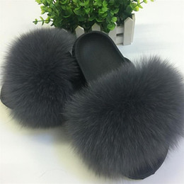 brown ladies heel shoes 2019 - Real Fur Slippers Women Fox Home Fluffy Sliders Comfort With Feathers Furry Summer Flats Sweet Ladies Shoes Large Size 4