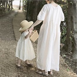 New mother daughter matchiNg dresses online shopping - Mommy and daughter matching outfits summer new girls loose comfortable casual dress women beach holiday long dress F7372