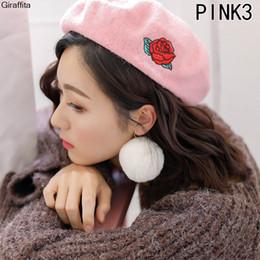 $enCountryForm.capitalKeyWord Australia - Winter Hats For Women Berets Knitted Wool Beret Embroidered Pattern Berets Hats Baret Warm Caps Boina Feminina Warm Cute Hat