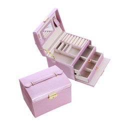 Chinese  PU Leather Multi-layer Jewelry Box Drawer Girls Earrings Necklace With Mirror Lock Storage Organizer Case Accessories Supplies manufacturers