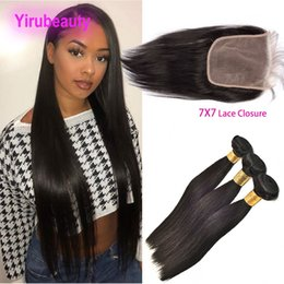 Discount hair extensions bundles - Brazilian Virgin Hair 3 Bundles With 7X7 Lace Closure Straight Remy Hair Extensions With 7 By 7 Lace Closure Middle Thre