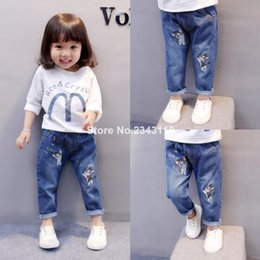 Discount cute baby girl denim pants - New kids girls Jeans trousers cute cartoon cat embroidery denim pants for baby girl Spring autumn children clothes