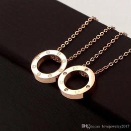 $enCountryForm.capitalKeyWord Australia - 316L Titanium Steel Rose Gold Screw Circle Pendant Necklaces for Women Silver 18K Gold Round Necklace with diamond Choker fashion Jewelry