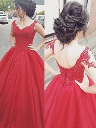$enCountryForm.capitalKeyWord Australia - 2019 Lace Beaded Tulle Sweet 16 Dresses Prom Dress Sweetheart Short Sleeve Lace-up Quinceanera Dress Party Evening Gowns Robes Long