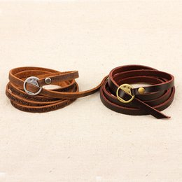 leather bracelets european american fashion 2019 - 2019 New European And American Pressure Word Real Leather Bracelet Couple Models Wild Bracelet Jewelry Fashion Trend dis