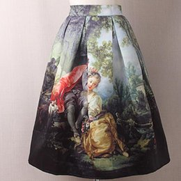 Royal Paintings Australia - Princess Royal Vintage Retro Fantasy Oil Painting Floral Print High Waist knee length ball gown skirt