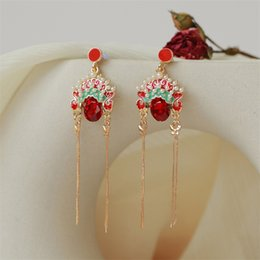 Chinese opera masks online shopping - Chinese Style Retro Long Beijing Opera Sichuan Opera Mask Earrings National Wind Chic Pearl Net Red Temperament Tassel Earrings
