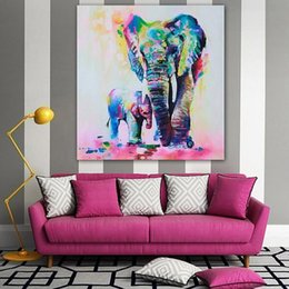 packaging for paintings Australia - 1pcs Elephant Oil Painting On Canvas Mother and Kid Oil Painting Elephant wall sticker For Wall Artwork Decoration 50cm x 50cm