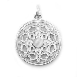 white gold disc pendant UK - Silver  Rose Gold Black Flower Round Disc Pendants White CZ Thomas Style Fashion DIY Jewelry Making Necklace Women Men 2018 New