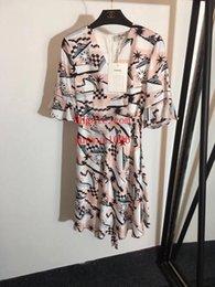 $enCountryForm.capitalKeyWord NZ - Brand summer dresses women jumpsuits rompers New trumpet sleeve sailboat silk printed lace-up short-sleeved dress skirt women clothes DO-31