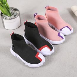 Sneakers Children Australia - Ulknn Boys Sport Shoes 2018 New Spring Children Flying Sneakers Girls High Top Socks Sneakers Kids Breathable Soft Running Shoes Y19061906