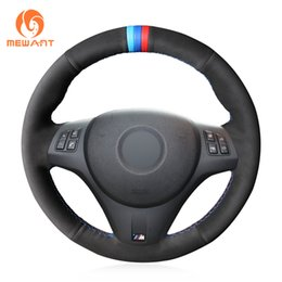 Bmw M3 Lights Australia - MEWANT Black Suede Light Blue Blue Red Marker DIY Car Steering Wheel Cover for BMW M3 2009-2013 E92