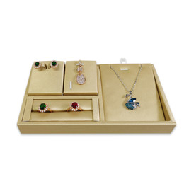 $enCountryForm.capitalKeyWord Australia - Brand Quality Jewelry Display Set Tray Gold Leather Ring Earring Pendant Necklace Display Stand Jewelry Organzier Storage Box Holder