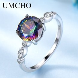 mystic topaz wedding ring sets UK - UMCHO Genuine Rainbow Fire Mystic Topaz Rings for Women Genuine 925 Sterling Silver Trendy for Women Romantic Gift Fine Jewelry