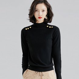 Wholesale plain color sweaters for sale - Group buy TVVOVVIN Autumn Lead Knitting Plain Wool Self cultivation Solid Color Pullover Rendering Sweater Woman L254