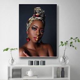 $enCountryForm.capitalKeyWord Australia - Black Gold African Art Nude Woman Canvas Oil Painting Cuadros Posters and Prints Scandinavian Wall Picture No Framed
