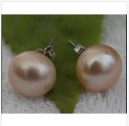 perfect gold alloys Australia - HOT HUGE Perfect 11-12mm Pink Purple South Sea Pearl Earrings 14K WHITE Gold
